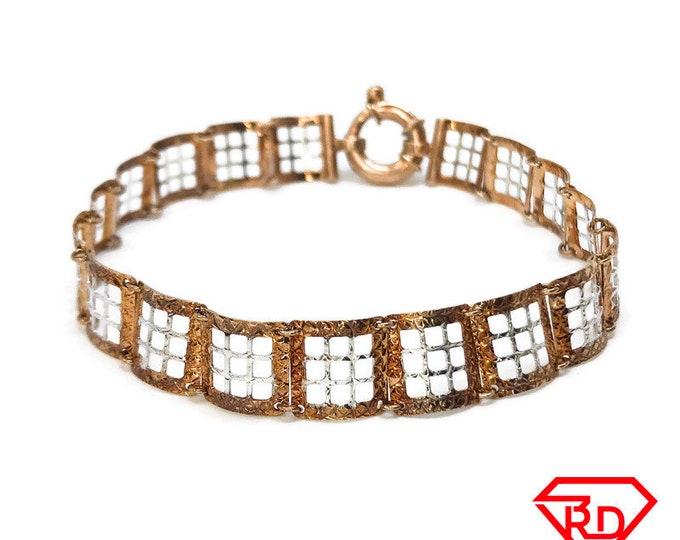 NEW 14k White And Rose Gold Layer On 925 Silver Thin Square Grid Link Bracelet 0.4 mm - 7.5""