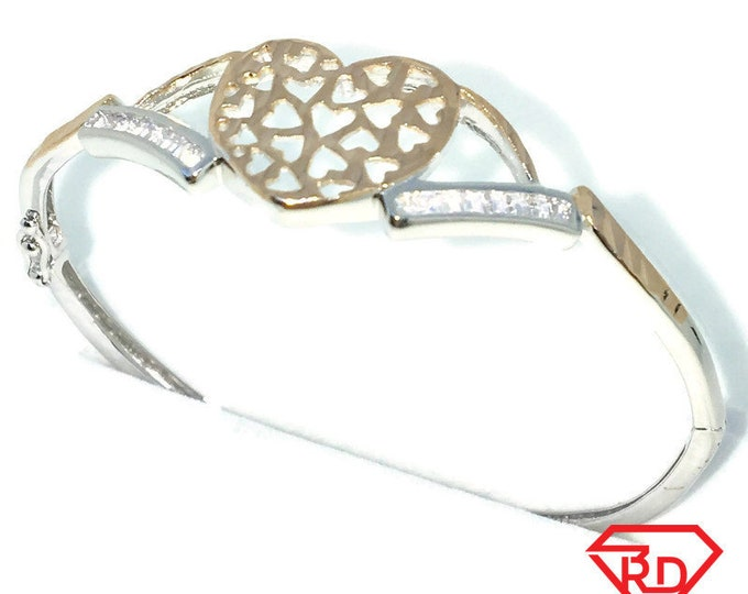 New white and rose gold on silver oval bangle bracelets white emerald cz