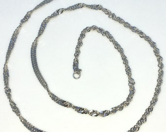 Brand New White Gold on 925 Solid Sterling Silver 16 inch Diamond cut Singapore chain Necklace with Lobster Claw Clasp