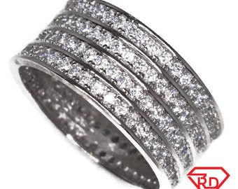 Eternity ring Cubic Zirconia thick white gold on Silver (size 8)