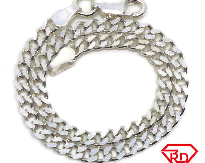 Thin Curb Chain 8 inch Bracelet 925 Silver
