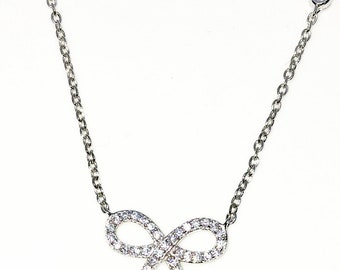 Brand New White Gold on 925 Solid Sterling Silver 16 inch Ribbon Knot white CZ cable chain Necklace with Lobster Claw Clasp and extension