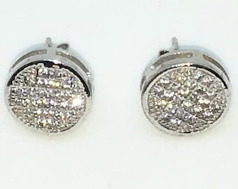 14k White Gold Layered Circular shaped CZ on 925 Solid Sterling Silver Stud Earrings ( 10 . 2 mm )