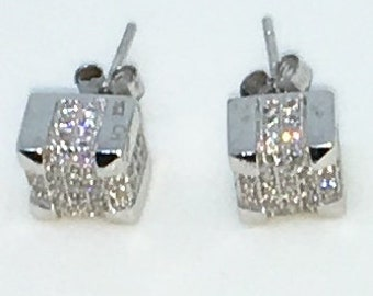 14k White Gold Layered Cubed shaped CZ on 925 Solid Sterling Silver Stud Earrings ( 7 . 3 mm )