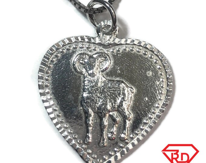 "New 925 Silver Chinese Character Writing ""Lucky"" &  Ram / Goat Heart Charm Pendant Reversible Design"