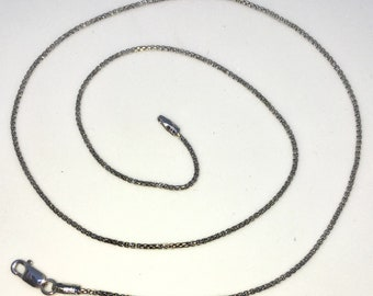 Brand New White Gold on 925 Solid Sterling Silver 16 inch Plain Round Box Necklace Chain with Lobster Claw Clasp