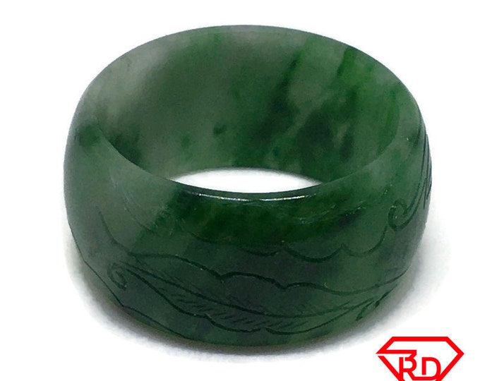 Smooth Inscriptions Round green jade ring Band (Size 9)