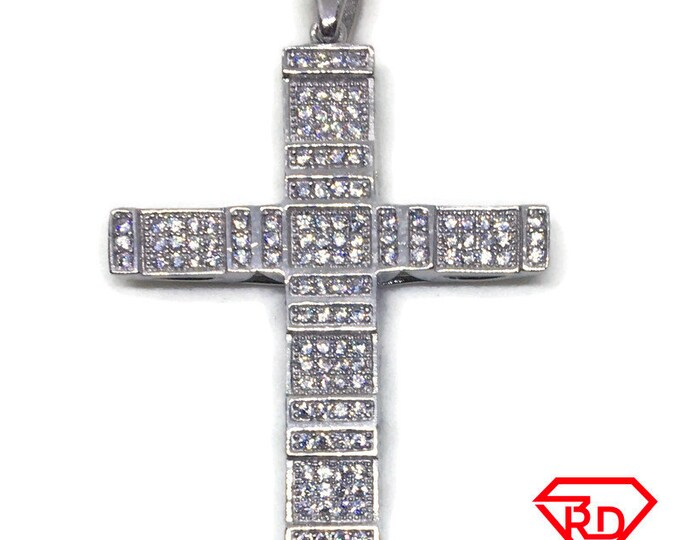 Block Cross with CZ charm pendant White gold on Silver