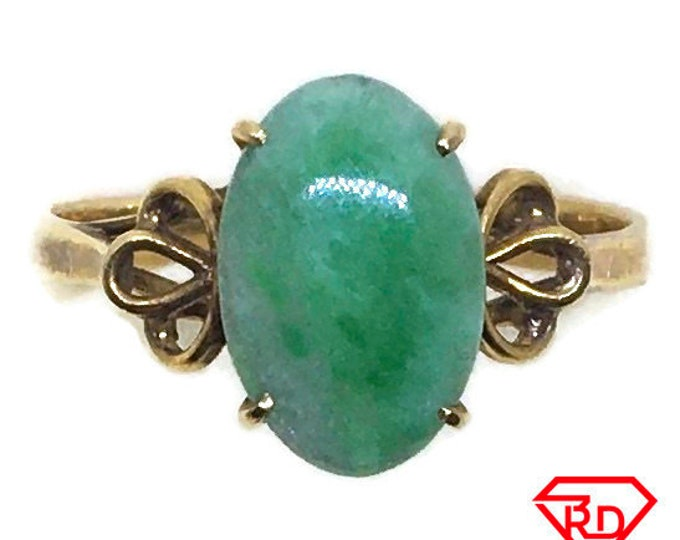 Handcraft 14k gold and Light green jade ring S6 . 5