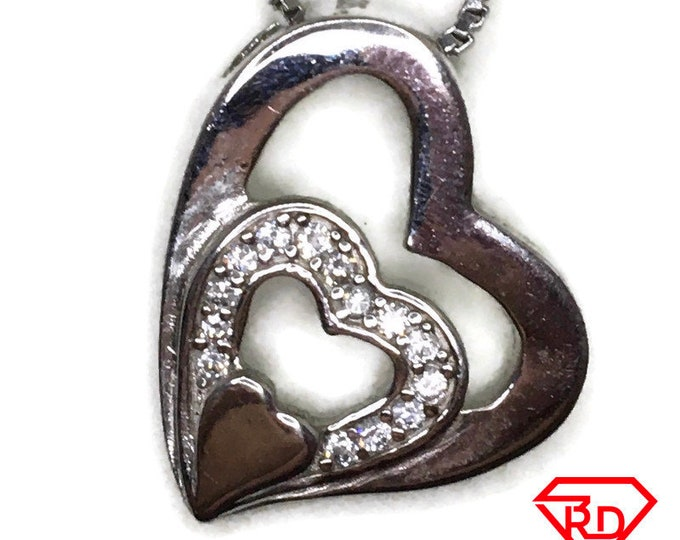 Cubic Zirconia Double Heart charm pendant white gold on silver