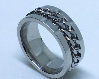 7 . 9 mm Brand New White Gold Plated with Spinning White Gold Center Line on Stainless Steel ring band