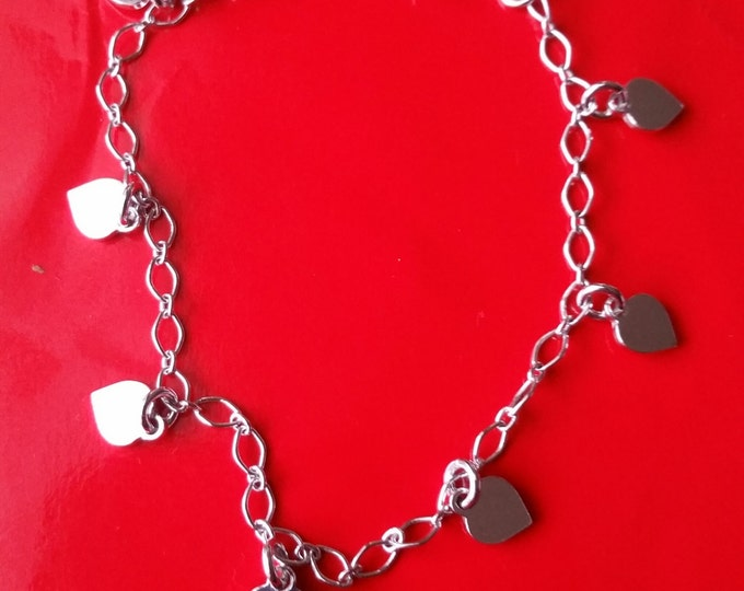 18k white gold layer on Solid 925 Sterling Silver dangling Lovely Heart charms bracelet
