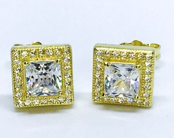 14k Yellow Gold Layered on Sterling Silver Square Earrings