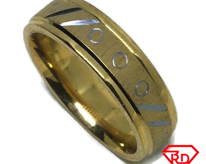 Diamond Cut ring band Gold plated Titanium Steel S8