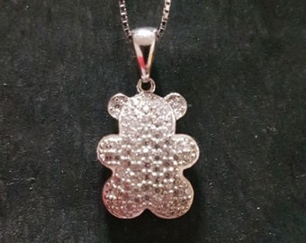New 14k white gold on 925 cute child teddy  bear toy pendant charm w/ free chain