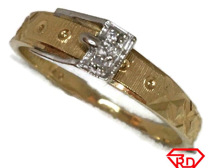 Diamond on belt buckle ring with 14K yellow gold