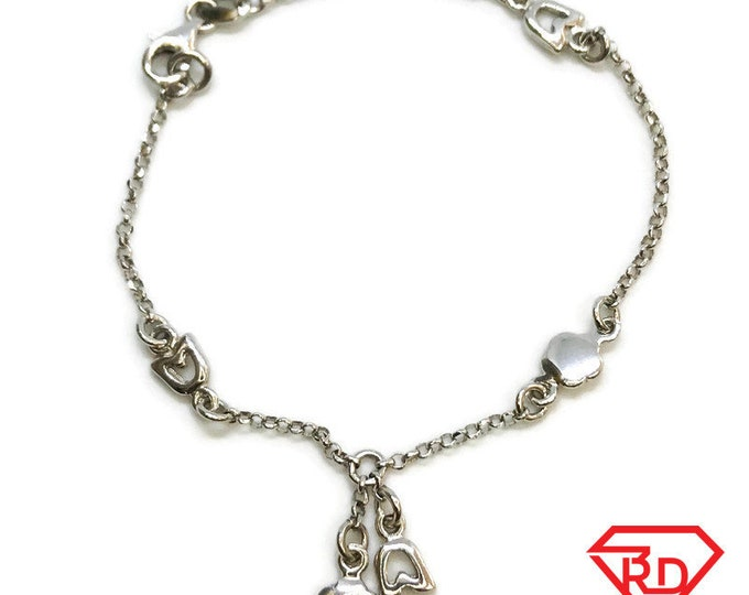NEW 14K White Gold Layered on Sterling Silver Rose and Flower Bracelet