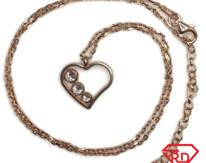 Rose Gold on Silver necklace Heart with 3 round white CZ