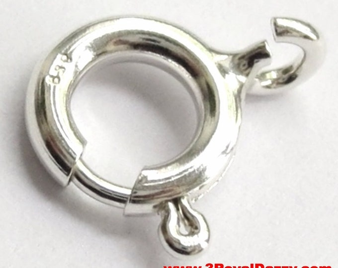 14k White gold layer on Small Spring Clasp Ring solid .925 Sterling Silver Findings Repair
