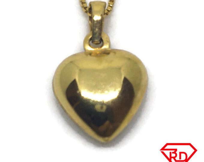 Small Heart Love charm pendant 14k Yellow gold