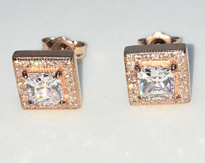 New 14k Pink Gold on 925 Sterling Silver Square with large Center White CZ Studs Earrings ( 8 . 9  mm )