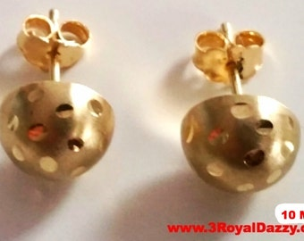 14k Yellow gold layer on 925 Sterling Silver Half Round Flat Ball Stud Earrings 10 MM