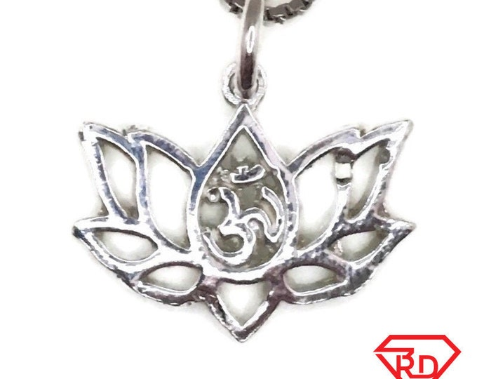 New Handcraft Anti-Tarnish 925 Silver Pendant om inlotus flower and free chain