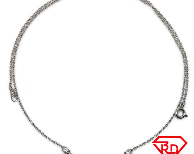 Rows of CZ Necklace 16 inch chain white gold on silver