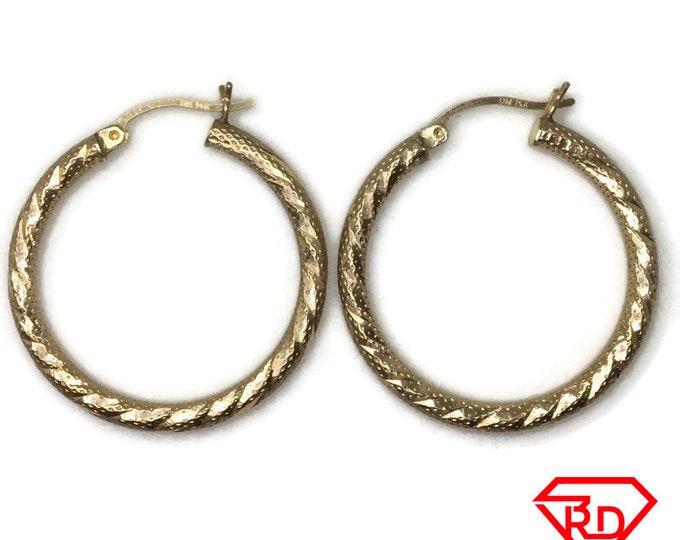 14K Hollow Hoop Daimond cut Large Earrings of yellow gold