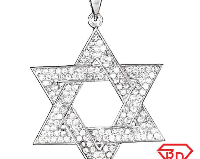 14k gold on solid 925 sterling silver with cz star of david jewish charm pendant