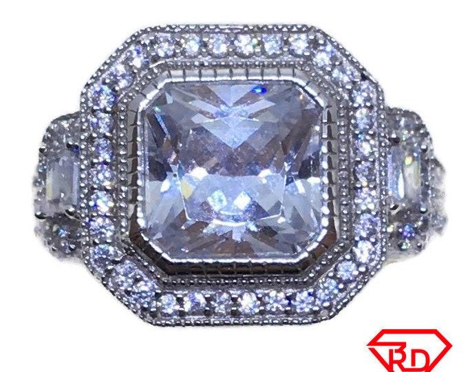 Large square princess CZ Ring 14k white gold on Silver (size 7)