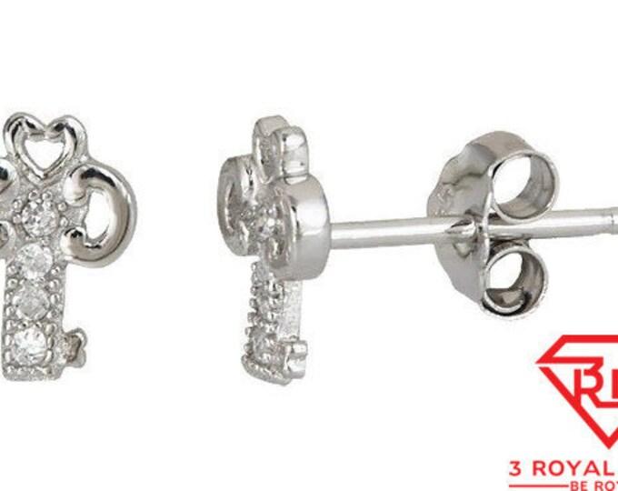 Cute key shape design .925 Sterling Silver Micro Pave Earrings