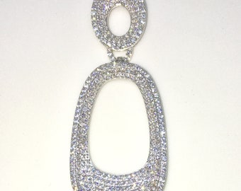 New White Gold on 925 Sterling Silver Pendant Artistic Semi-Oval Shape with round white CZ ( 22 . 3 mm )