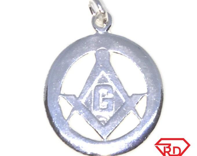circle shape Masonry symbol New 925 Solid Sterling Silver Charm
