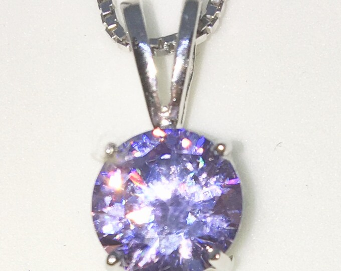 New White Gold on 925 Sterling Silver Pendant Medium Four Prong Basket Birthstone with round Pink CZ and Silver 16 Inch Chain ( 8 . 8 mm )
