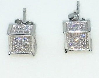 14k White Gold Layered Small Cubic shaped CZ on 925 Solid Sterling Silver Stud Earrings ( 6 . 5 mm )