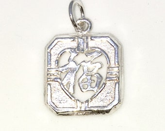 Brand New 925 Solid Sterling Silver Medium Pendant with Square Hollow Shape and Lucky Chinese Letter