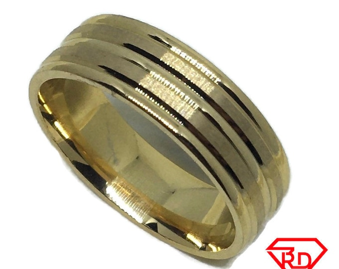 Center Line ring band Gold plated Titanium Steel S14