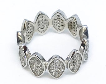 NEW 14K White Gold Layered on Sterling Silver Leafy Shaped Ring