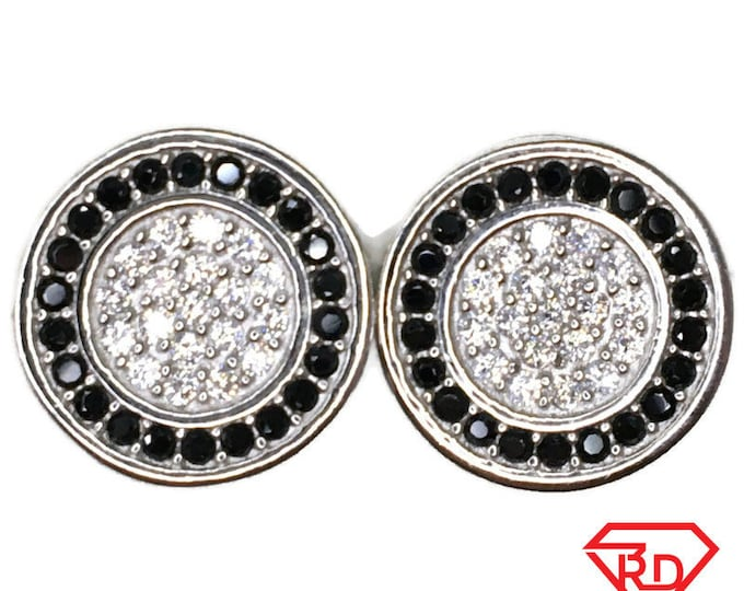 Black Cubic Zirconia outer Stud Earrings circle White Gold