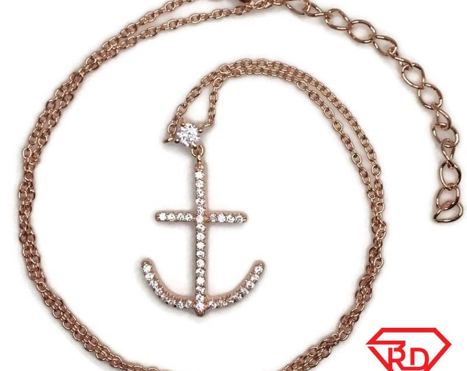 Rose Gold on Silver necklace Anchor with round white CZ