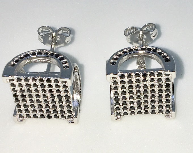 New 14k White Gold on 925 Sterling Silver Table Square with Black CZ Large Studs Earrings ( 11 . 9  mm )