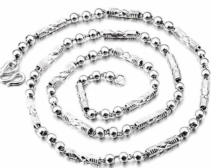 New handmade solid .990 fine silver round ball & bar necklace chain - 4mm 24""