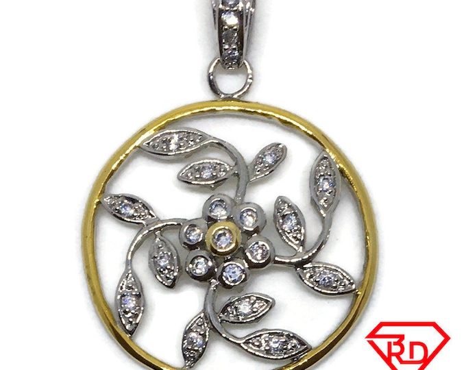 Cubic Zirconia flower round pendant 2 tone Gold on silver