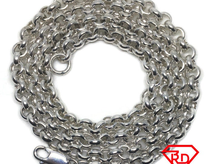 Heavy Round Rolo Chain 24 inch Necklace 925 Silver