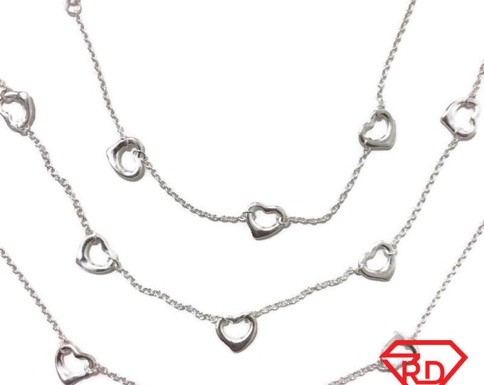 Brand New Anti-Tarnish Silver Bracelet, Anklet and Necklace Set of cable chain and hearts with spring ring clasps