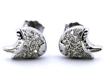 Cute 14k White Gold on 925 Silver Tiny Fish Earrings