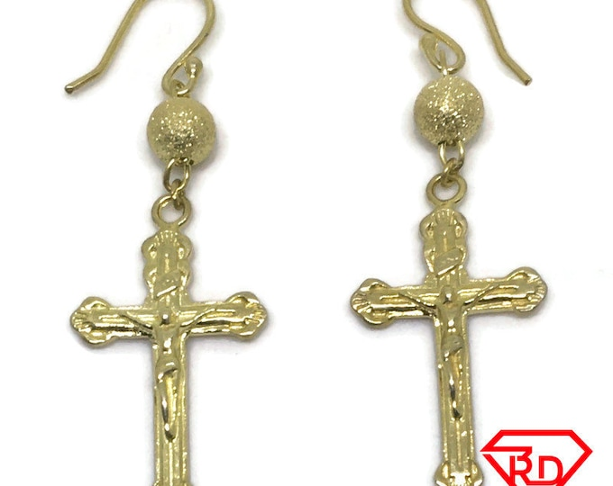 Rosary Bead Dangle Drop Earrings 14K Yellow Gold Layer