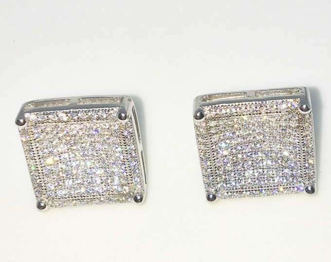 New White Gold on 925 Solid Sterling Silver Large Square shape with tiny Round white CZ Studs Earrings ( 14 . 8 mm )