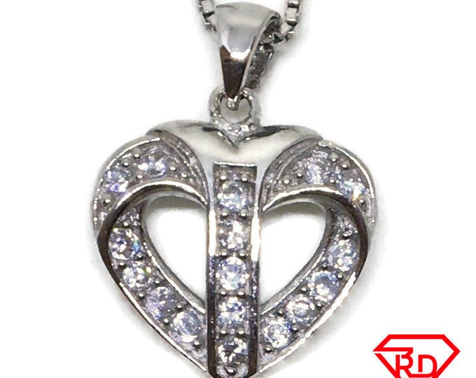Cubic Zirconia cute Heart pendant white Gold on 925 silver